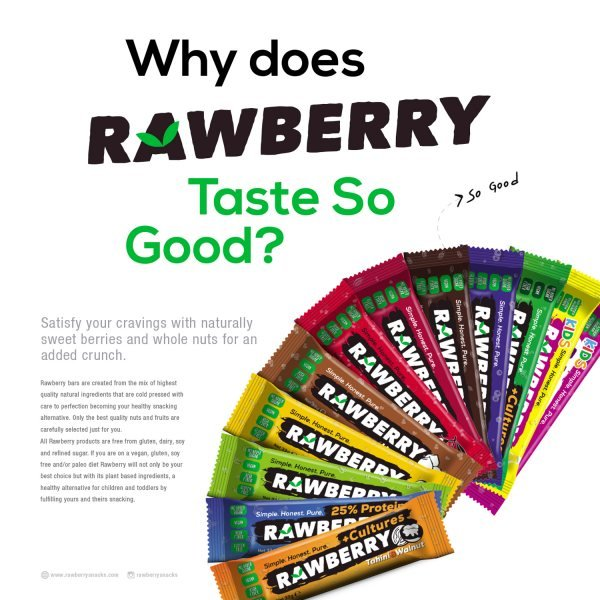 Print design and packaging design for a berry based snack bar company.